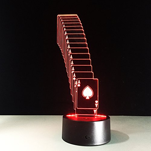 Wzngzj Schreibtischlampe Klapp Poker Tisch Lamp7 Farbwechsel 3D Led Tisch Schreibtischlampe Kinder Geschenk