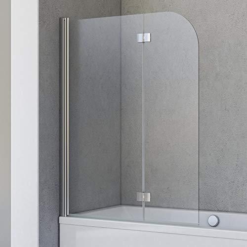 Schulte Badewannenfaltwand Breathe, 2-teilig 112 x 142 cm, 5 mm Sicherheitsglas (ESG) Klar hell, Chromoptik, Montage auf Badewanne, D693476210 41 50