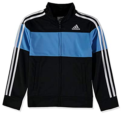 adidas Boys' Big Tricot Active Track Warm-Up Jacket, Color Block Black and Real Blue, Large