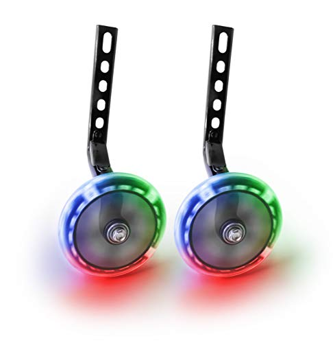 Bicycle Training Wheels - Multicolored LED light Training Wheels For Kids Bicycle - Compatible With 12 14 16 18 Inch Boys/Girls Bike (Black)