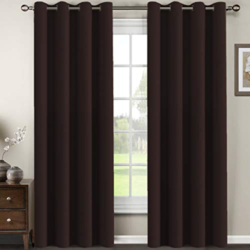 H.VERSAILTEX Living Room Curtains 96 Inches Long Christmas Deals Full Shade Blackout Drapes Thermal Insulated Grommet Extra Long Curtains for Patio Sliding Glass Door, Chocolate Brown - 1 Panel