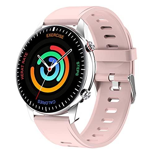 QFSLR Smartwatch, Reloj Inteligente Impermeable IP67 con Llamada Bluetooth Monitor De Frecuencia Cardíaca Monitor De Presión Arterial Monitoreo De Oxígeno En Sangre para Android iOS,Pink e