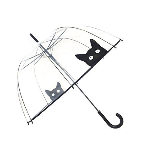 SMATI transparenter Automatik-Stockschirm Glockenform mit Katze - Regenschirm Damen – Winddicht – Vogelkäfig Dome Siehe durch (Katze)
