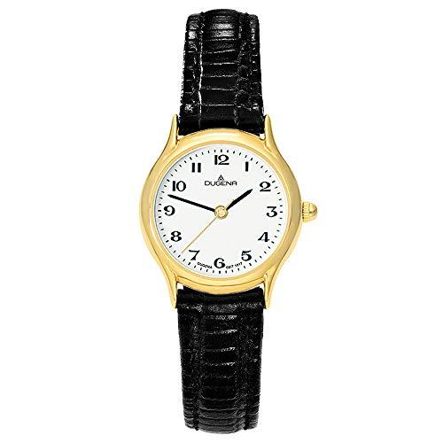 DUGENA Damen-Armbanduhr 1626311 Vintage, Quarz, weißes Zifferblatt, Edelstahlgehäuse, Mineralglas, Lederarmband, Dornschließe, 3 bar