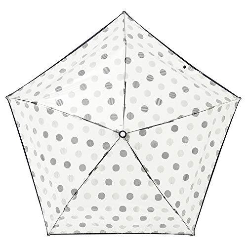 [ムーンバット]estaa(エスタ)透明ビニール折りたたみ傘ドット柄ブラック50㎝【透明・軽量】