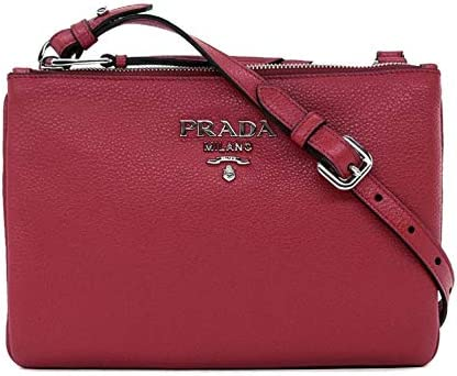 Prada Women s burgundy Red with Silver Hardware Vitello Phenix Leather Crossbody Handbag Bag product image