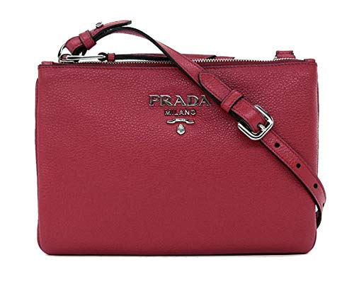 Prada 1BH046 Damen Handtasche aus Leder, Burgunderrot mit silberfarbenen Beschlägen