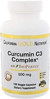 California Gold Nutrition, Curcumin C3 Complex with BioPerine, Turmeric Inflammation Support Formula, 500 mg, 120 Veggie C...