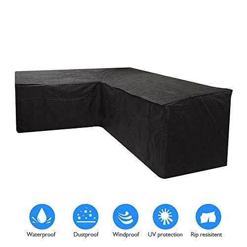 Iraza Funda Esquina Protectora Sofa Muebles,270x270x90CM Impermeable para Sofás,Mesas y Sillas de Patio,Cubierta Protectora Exterior Impermeable,L Rectangular Negro (270x270x90cm)