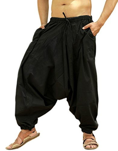 Sarjana Handicrafts Pantalones bombachos para hombres, de algodón, estilo genio, de yoga, harem, Hombre, color negro, tamaño XL