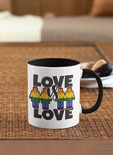 Taza de café con texto en inglés Love is Love is Love is Love Gay Pride Lesbian Cute Gift LGBTQ Rainbow Flag Bisexual Transgénero, taza de cerámica de 325 ml
