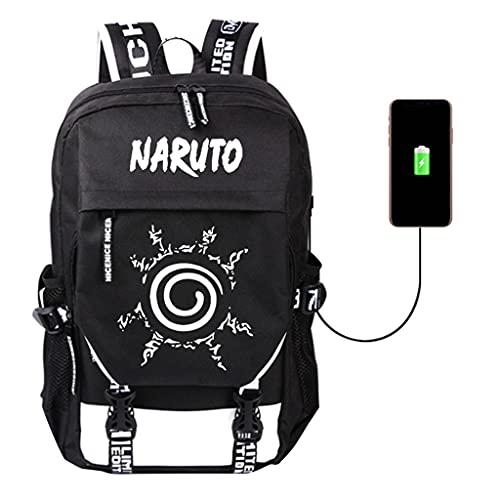KIACIYA Naruto Rucksack Damen Herren, AkatsukiBackpack Laptop Rucksack mit USB Ladeanschluss Naruto Kakashi School Bag Uchiha Sasuke Itachi Daypack Tagesrucksack Reiserucksack (43cm*30cm*20cm,G)