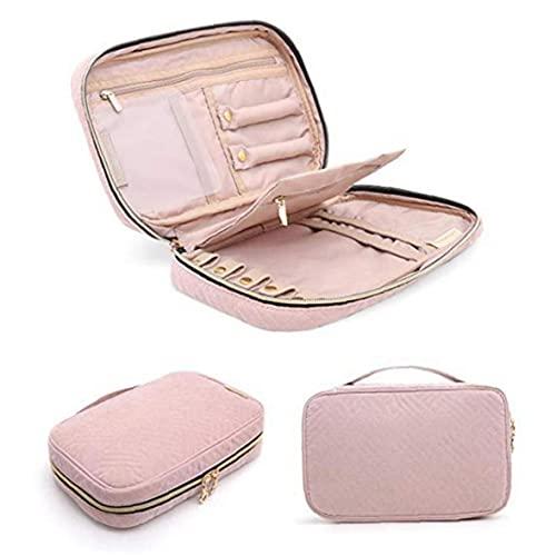 Ruluti Gioielli delle Donne degli Orecchini di Moda Pink Caso Anelli Display Sacchetto della Chiusura Lampo della Collana di Organizzatore del Sacchetto di Grande Capienza Portatile di Viaggio