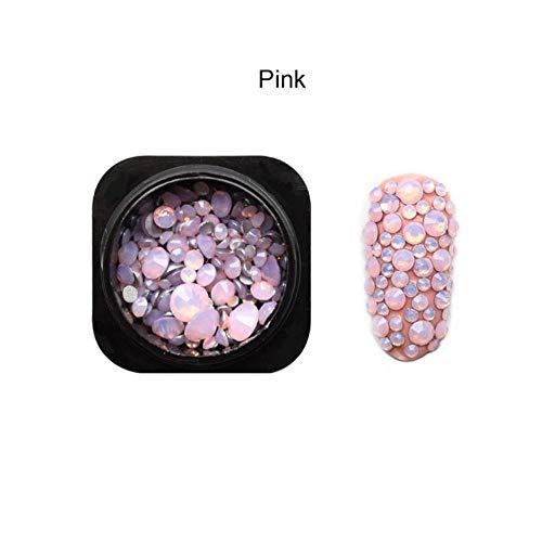 Gouen 1 Bouteille Mix Opale Cristal Nail Strass Verre Nail Art Décorations Accessoire, Rose