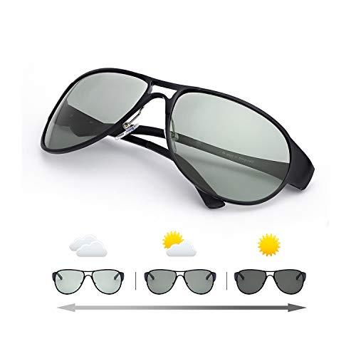 IGnaef Gafas De Sol Fotocromaticas Polarizadas para Hombre Clásico Grande Al-Mg Marco Metal - 100% UVA/UVB Protección (Negro)