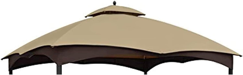 CoastShade Patio 10X12 Replacement Canopy Roof for Lowe's Allen Roth 10X12 Gazebo Backyard Double Top Gazebo #GF-12S004B-1(Khaki)