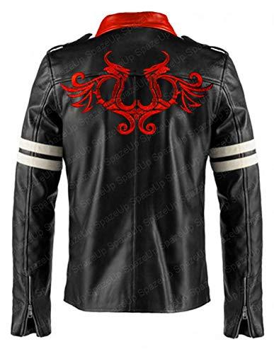 LP-FACON Alex Mercer - Chaqueta de piel negra para hombre, diseño de dragón