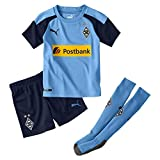PUMA Jungen BMG Away Minikit mit sponsor Trikot BMG Away Minikit with sponsor, Team Light Blue/Peacoat, 116 (Herstellergröße: 5-6 Y)