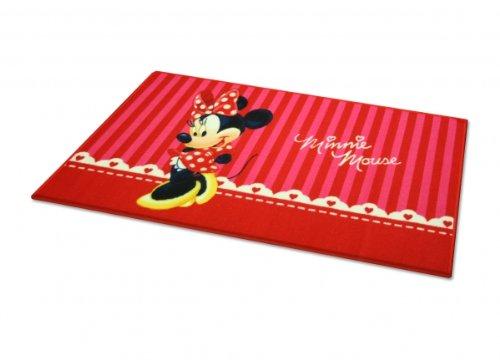 Bavaria Home Style Collection Kinderteppich Mädchen Spielteppich Teppich Kinderzimmer Babyteppich Motiv Minnie Mouse Farbe Weiss Rot Gr. 80x 140 cm