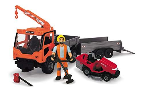 DICKIE 203838006 Playlife-Ladog Gardener Set Kranfahrzeug,Anhänger Spielfigur, Kranarm, Bordwand,Bewegliche Plattform,Rasenmäher,Honda Laubbläser und Rasentrimmer, orange