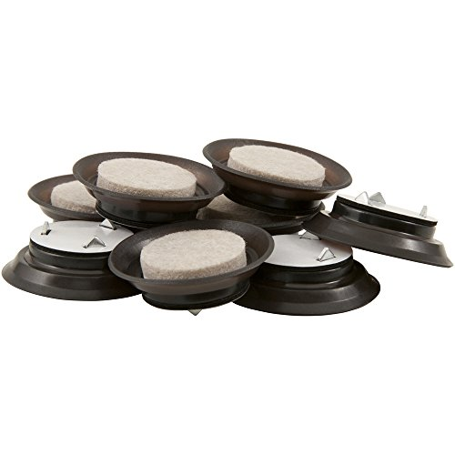 Kleen Freak Ultimate Grip Tap-on Fuzz Free Felt Pads for Wood Furniture and Hard Floors - Resists Dirt and Fuzz - 1.5 Inches, 8 Pack Brown 1-1/2 Inch