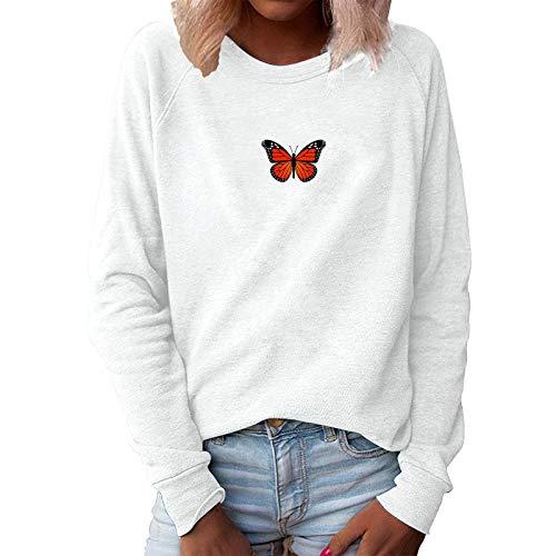 Sonnena Mujer Sudaderas con Estampado de Mariposas Camisetas Manga Largas Camisa sin Capucha Redondo Cuello Tops S-4XL