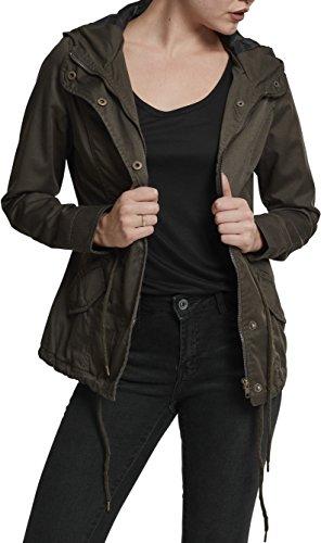 Urban Classics TB1820 Damen und Mädchen Basic Cotton Parka, Jacke aus Baumwolle für Herbst und Winter mit Kapuze, Taille verstellbar, Tunnelzug-Saum - olive, Größe S
