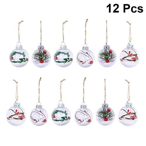 Healifty 12 Piezas de plástico Transparente irrompible Adornos de Bolas de Navidad artesanías Bolas de Navidad Bolas