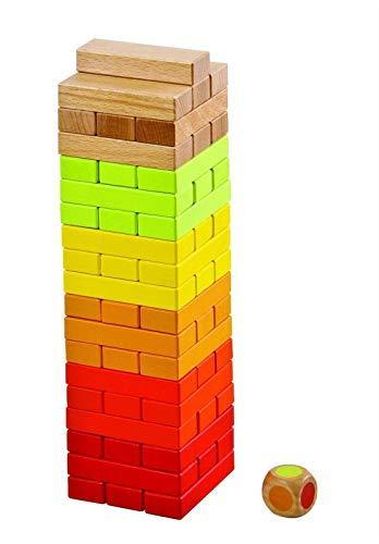Lelin L50072 Juego de bloques de torre de apilamiento de madera de 56 piezas para niños, multicolor
