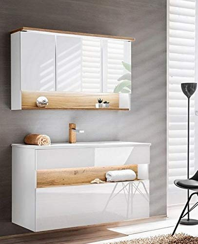 Jadella badmeubelset 'Rio wit 120' badkamerset 3 TLG wastafel 120cm eiken hoogglans wit met LED-verlichting