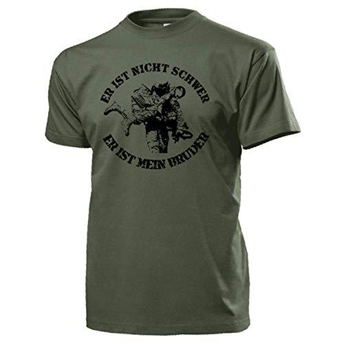 Er ist Nicht schwer Bundeswehr Sani Sanitäter Medical Support T Shirt #18163, Größe:XL, Farbe:Oliv
