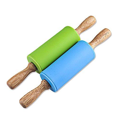 Manija de madera antiadherente de madera del rodillo del silicón para el...