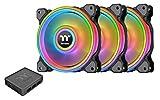 Thermaltake Riing Quad 140mm 16.8 Million RGB Color (Alexa, Razer Chroma) Software Enabled 4 Light Rings 54 Addressable LED 9 Blades Hydraulic Bearing Case/Radiator Fan, 3 Pack, CL-F089-PL14SW-B Black