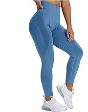 CNASA Leggings för kvinnor rumplyft, yogabyxor sport träning sexig sömlös hög midja kompression gym träning tights
