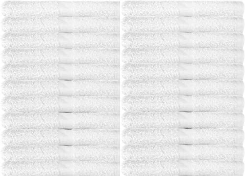 Towels N More Excellent Deals Wash Cloth (24 White) - 100% Cotton Washcloth 12x12 - Highly Absorbent All Purpose Cleaning washcloths - Machine Washable Facecloth Face Towels (24)