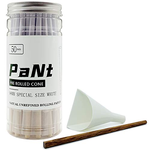 PaNt 50 Pcs White Pre Rolled Organic Cones, Special (3.85inch/98mm) Packaging of Tower Sealed cans