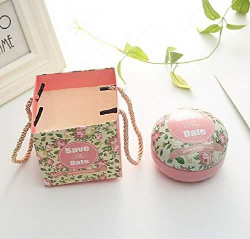 Artículos de vacaciones MMGZ romántico día de San Valentín la caja del caramelo redondo plano de caramelo caja de joyería de regalo Suministros Parte festiva Bird Box asas Home Garden, color: rosa (Gu