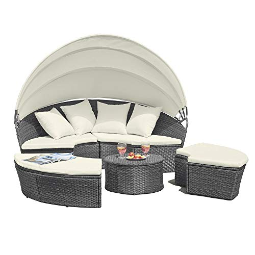 Garden Gear 180cm 4 Piece Grey Rattan Daybed Outdoor Furniture Set with Extendable Canopy & Cushions Included (Grey/Cream)