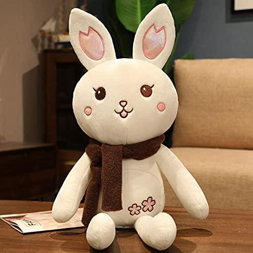58cm-120cm Lindo Conejo de Peluche Juguetes de Peluche Conejos de Dibujos Animados con Almohada de Felpa muñecos de Peluche Kawaii Regalos de cumpleaños Juguete 100CM pañuelo marrón