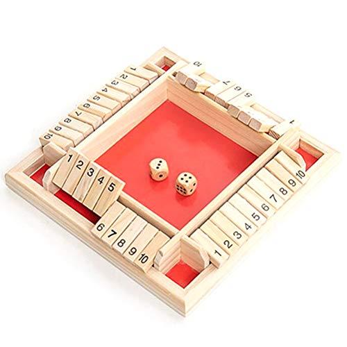 Ahagut Juego de 4 Jugadores Shut The Box Juego de Madera Grande Juego de Mesa de Madera Divertido Juego Familiar para Padres e Hijos Fiesta Viajes Juguetes educativos (Rojo)