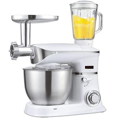 1300W Alimentación Batidora De Pie, 3 En 1 Multi Funcional Robot Cocina Con 6.5L Grado Alimenticio Bowl,Alimento Amoladora,Conjunto Completo Accesorios Maker 6 Ajustes De Velocidad,Blanco
