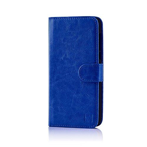 32nd PU Leder Mappen Hülle Flip Hülle Cover für HTC U Play, Ledertasche hüllen mit Magnetverschluss & Kartensteckplatz - Blau