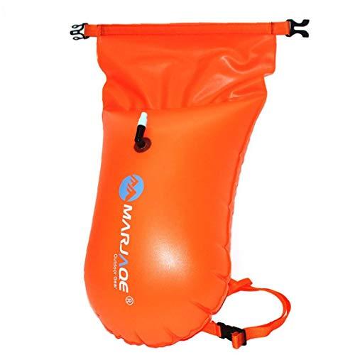 NaiCasy Flotar Bolso seco de natación Inflable de Seguridad portátil Bolsa Flotante para Deportes acuáticos de Agua Abierta Nadadores kayakistas buceadores Naranja