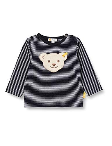 Steiff Baby-Jungen mit süßer Teddybärapplikation T-Shirt Langarm, Navy, 074
