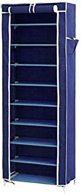 BUCKETLIST® Multipurpose Portable Folding Shoes Rack 9 Tiers Multi-Purpose Shoe Storage Organizer Cabinet Tower with Iron and