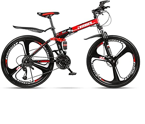 Qianglin Bicicleta de montaña Plegable para Adultos, Bicicleta de Carretera de suspensión Completa de 24/26 Pulgadas, Bicicleta de montaña Exterior con Freno de Disco Doble para Hombres y Mujeres