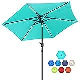 FRUITEAM Solar Patio Umbrella Outdoor LED Umbrella,Table Umbrella with Lights Heavy Duty Patio Umbrella with Sturdy Ribs, Crank, Easy Tilt Adjustment