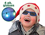Holiday Specs Plastic 3D GLASSES- 4pk Holographic glasses, Look through Glasses at your Holiday Lights and see Snowmen, Snowflakes, Santa, or Reindeer Appear before your Eyes!