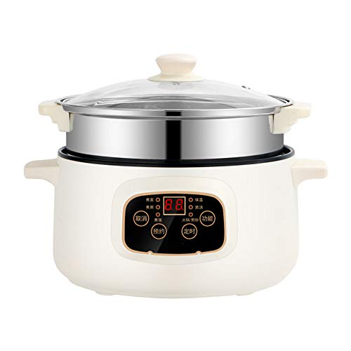 Multi-Funktions-Elektro-Shabu Shabu Hot Pot, Hochwertig Antihaft Clever Friteuse, Bratpfanne, Elektroherd 6 in 1 Super-Cooker für Haushalt Abendessen,10.2 inches