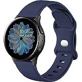 Mastten Correa de Silicona Compatible con Samsung Galaxy Watch Active 2 40mm/44mm, 20mm Pulsera Deportiva con Hebilla de Doble Orificio para Galaxy Watch 4/Watch 4 Classic/Watch3 41mm, S Azuloscuro